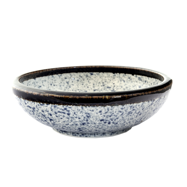 13218 ceramic serving bowl   blue wave pattern with dark brown rim