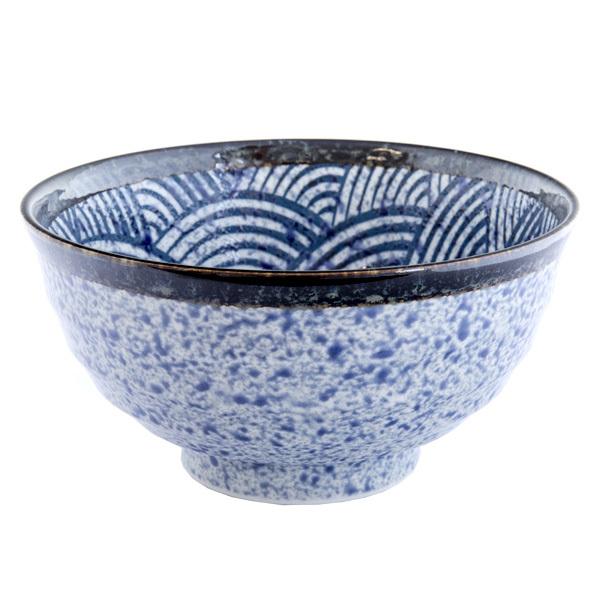 13232 ceramic medium rice bowl   blue wave pattern with dark brown rim