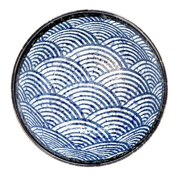 13232 ceramic medium rice bowl   blue wave pattern with dark brown rim 2