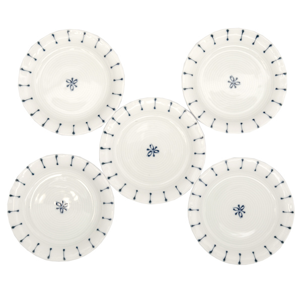 13081 ceramic small serving plate set white blue stripe pattern 2
