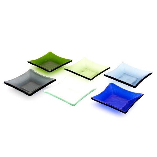 13110 glass small serving plate set multicolour