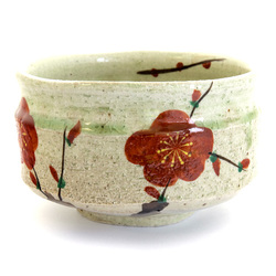 13279 ceramic matcha bowl   white  plum blossom pattern