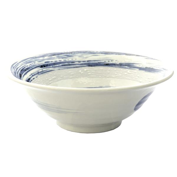 10473 ceramic noodle bowl   white  blue swirl pattern