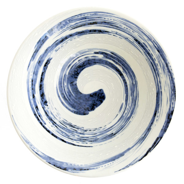10473 ceramic noodle bowl   white  blue swirl pattern 2