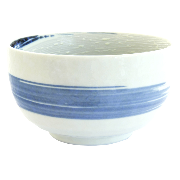 13295 ceramic bowl   white  blue swirl pattern