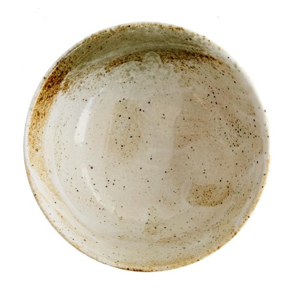 13263 ceramic rice bowl   white and moss green  mottled pattern 2