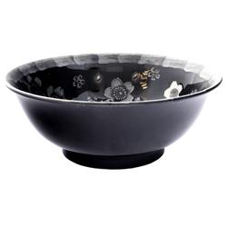13269 ceramic noodle bowl   black  cherry blossom pattern