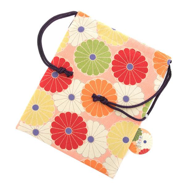 13509 drawstring bag  peach  chrysanthemum flower