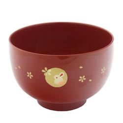 13567 miso soup bowl   red  rabbit pattern