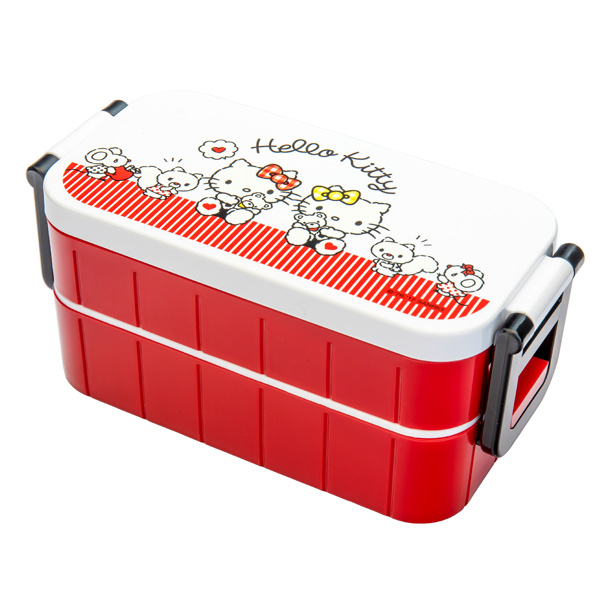 japan centre sanrio hello kitty and mimmy bento lunch box with chopsticks red and white. Black Bedroom Furniture Sets. Home Design Ideas