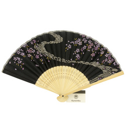 13545 traditional wooden fan  river  cherry blossom