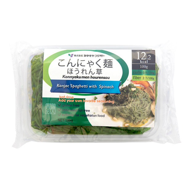 13643 pre cooked konnyaku and spinach spaghetti
