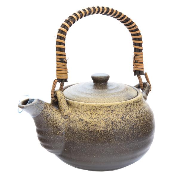 11759 ceramic teapot   brown  mottled pattern
