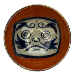 13645 ceramic sauce dish   red  daruma design 2