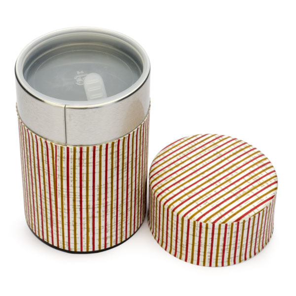 13651 tea canister   red  white and gold 2