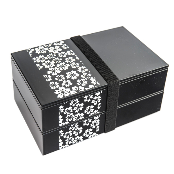 japan centre two tier bento lunch box black cherry blossom pattern bento boxes. Black Bedroom Furniture Sets. Home Design Ideas