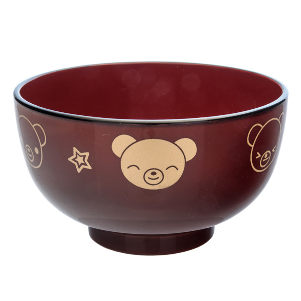 13863 miso soup bowl   red and gold  bear pattern