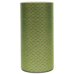 13871 tea canister   green and gold  wave