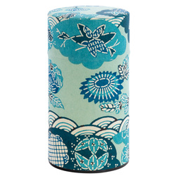 13934  tea canister   blue  waves and flowers pattern