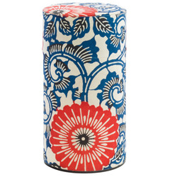 13935 tea canister   blue and red  flower pattern