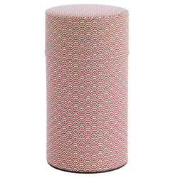 13936 tea canister  red wave pattern