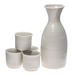 13946 ceramic sake set   white