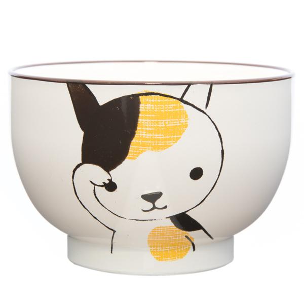 13971 hello animal miso soup bowl   white  cat design