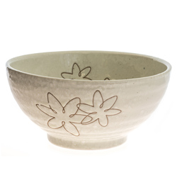 13975 ceramic noodle bowl   white  floral pattern