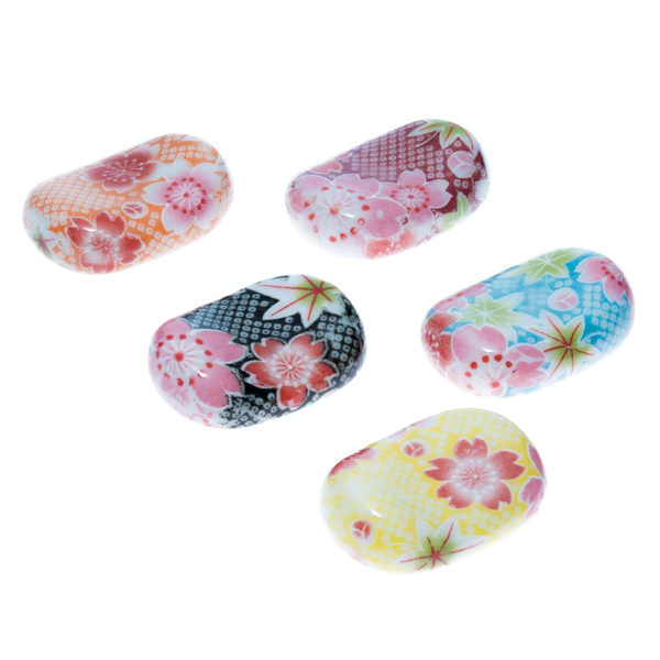 13985 ceramic oval chopstick rest sets   floral pattern