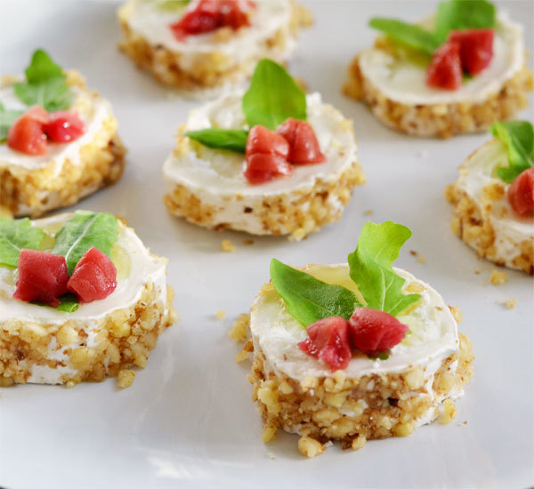 Goat 39 s cheese rounds with umeboshi recipe japan centre for Italian canape ideas
