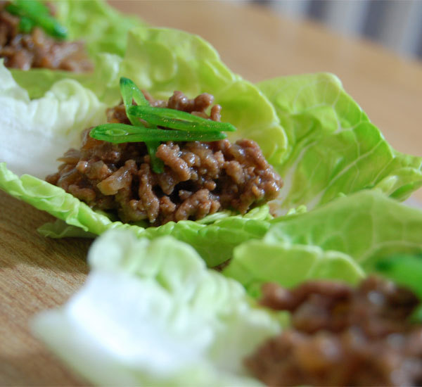 Teriyaki Beef Mince on Lettuce Cups